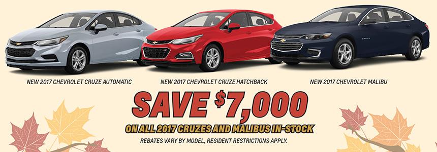 Chevrolet Cruze and Malibus